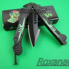 BRICEAG CUTIT BUTTERFLY BALISONG. BRICEAG FLUTURAS. American butterfly ZOMBIE