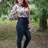 Pantalon trendy, imitatie de piele chic, nuanta de bleumarin - Pantaloni dama