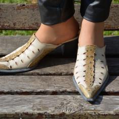 Papuc de primavara-vara, culoare aurie, din piele naturala - Papuci dama