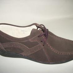 Pantof din piele naturala, nuanta de maro, inchidere cu siret