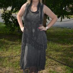 Rochie tinereasca masura mare, model deosebit culoare gri inchis - Rochie de zi