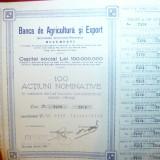 Titlu de 100 Actiuni nominative 50 000 lei la Banca de Agricultura 1923-1945