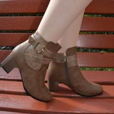 Botina de dama nuanta de maro, model clasic cu curele lucioase - Botine dama