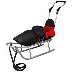 Sanie Baby Dreams Rider Plus cu Sac de iarna Speedy Color negru-rosu