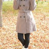 Palton din stofa cu gluga, de culoare nisipie, pentru toamna-iarna