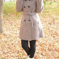Palton din stofa cu gluga, de culoare nisipie, pentru toamna-iarna - Palton dama