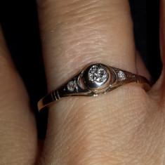 Inel vechi inceput de anii 1900 din aur alb de 14 k, lucrare deosebita - Inel diamant