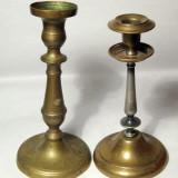 2 Sfesnice vechi de lumanari din alama, Ornamentale