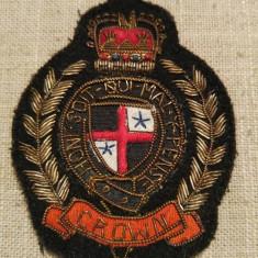 Ecuson stema militara ordinul Jartierei din UK, vintage, colectie, 8, 5 x 7 cm