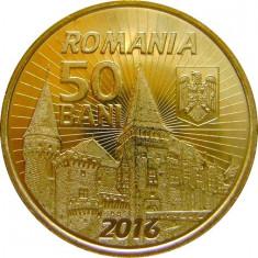 ROMANIA, 50 BANI 2016 UNC, din fisic; comemorativa Iancu de Hunedoara - Moneda Romania, Alama