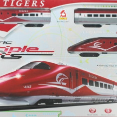 "TRENULET ELECTRIC DE MARE VITEZA""TIGERS"",UN SET CU SINE SI DECOR INCLUS.SUPER!, Seturi complete"