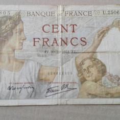 Bancnota Franta de 100 franci 1941, circulata - bancnota europa