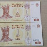 Bancnote  de 1 leu Moldova cu diferente ortografice a anilor 2006 si 2010, UNC