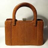 Poseta anii 50 geanta de dama din piele de sarpe 3 compartimente - Geanta vintage