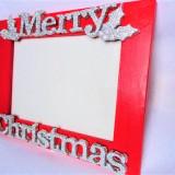 "Rama foto medie rosie argintiu ""Merry Christmas"" Craciun fericit geam sticla NOU"