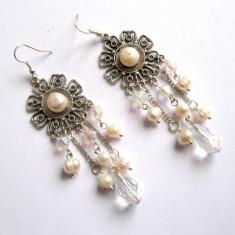 Cercei perle naturale si cristale 27755 - Cercei perla