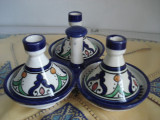 Tajina/tagina tripla pentru condimente - Albastru de Fes - Maroc