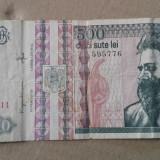 Bancnota 500 lei 1992, filigran Brancusi din fata, circulata - Bancnota romaneasca