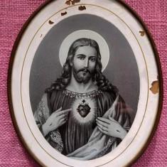Icoana veche litografie / transfer pe sticla, rama ovala, metalica, 16x14.5cm