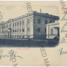 1067 - L i t h o, IASI, Technical school - old postcard - used - 1900, Circulata, Printata
