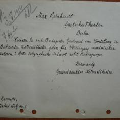 Scrisoare expediata de Diamandy, Directorul Teatrului National Bucuresti, 1914 - Autograf