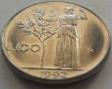 Moneda 100 Lire - ITALIA, anul 1992 *cod 898 a.UNC+, Europa