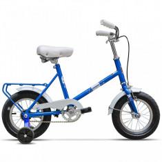 Pegas NOU 'Soim Albastru-azur' cu roti ajutatoare pentru copii - Bicicleta retro, 12 inch, Numar viteze: 1