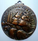 D.243 ROMANIA MEDALIE CUPA UNITATII TINERETULUI F.N.T.D.R. 1948 37,5mm