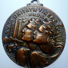 D.243 ROMANIA MEDALIE CUPA UNITATII TINERETULUI F.N.T.D.R. 1948 37, 5mm - Medalii Romania