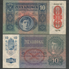 AUSTRIA AUSTRO-UNGARIA 10 KRONEN COROANE 1915 UNC [01] supratipar necirculata - bancnota europa
