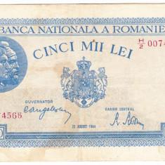 Bancnota 5000 lei 22 august 1944 RARA - Bancnota romaneasca