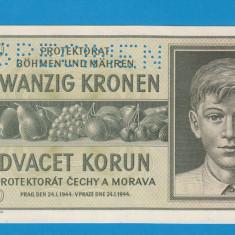 Moravia Boemia 20 kronen korun 1944 UNC SPECIMEN - bancnota europa