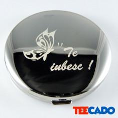 Oglinda personalizata gravata Inox 68mm - Bratara argint