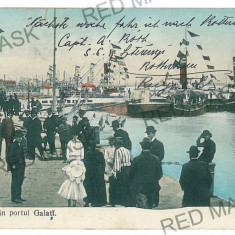 3301 - GALATI, harbor - old postcard - used - 1909 - Carte Postala Moldova 1904-1918, Circulata, Printata