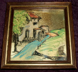 Acuarela miniatura (7), serigrafie cu foita de aur pictata manual, rama 11x11cm, Peisaje, Miniatural