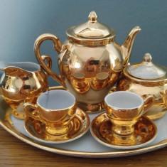 Set cafea miniatura, portelan Romaniafacut la Cluj, auriu, 10 piese - Bibelou