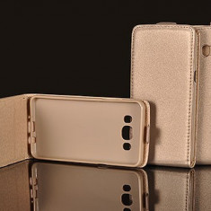 Husa Alcatel POP 4 Flip Case Inchidere Magnetica Gold - Husa Telefon Alcatel, Auriu, Piele Ecologica, Cu clapeta, Toc
