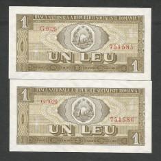 ROMANIA 1 LEU 1966, UNC [2] P-91a, Serii Consecutive, pret / 2 buc - Bancnota romaneasca