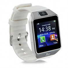 Ceas Smartwatch DZ09 cu MicroSIM si Camera SPY Alb, Alte materiale, Android Wear
