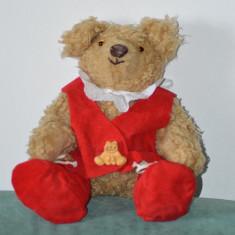 M- Jucarie plus ursulet /urs facut manual de artist artizan, hainute rosii, 30cm - Jucarii plus