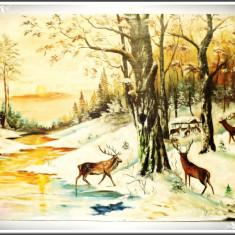 PICTURĂ MARE ȘI VECHE ÎN ULEI PE PÂNZĂ LIPITĂ DE PLACAJ - CERBI LA HRĂNITOR! - Tablou autor neidentificat, An: 1970, Animale, Realism