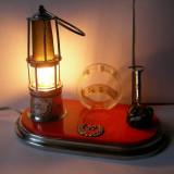 MACHETA LAMPA DE MINA VEIOZA SI SUPORT CREIOANE - Metal/Fonta
