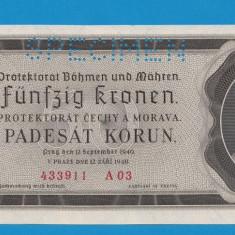 Moravia Boemia 50 kronen korun 1940 UNC SPECIMEN - bancnota europa