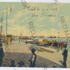 2745 - GALATI, harbor - old postcard - used - 1908 - Carte Postala Moldova 1904-1918, Circulata, Printata