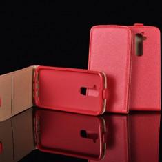 Husa Alcatel POP 4 Flip Case Inchidere Magnetica Rosie - Husa Telefon Alcatel, Rosu, Piele Ecologica, Cu clapeta, Toc