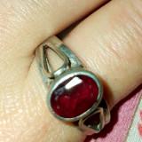 Inel antic argint 925 cu rubin rosu intens natural!model elegant ! - Inel argint