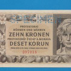 Moravia Boemia 10 kronen korun 1942 UNC SPECIMEN - bancnota europa