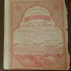 Obligatiune Renta improprietaririi 1922, 20000 lei, 5%