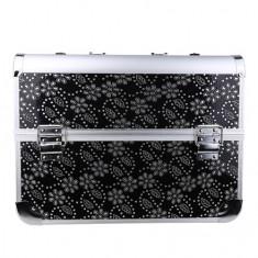 Geanta valiza case manichiura cosmetice manichiuriste makeup bag neagra cristale - Geanta cosmetice