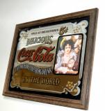 Reclama vintage pe oglinda Coca-Cola 5 cents - serigrafie (33,5cm x 26cm)